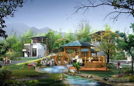 小区景观园林效果图psd素材