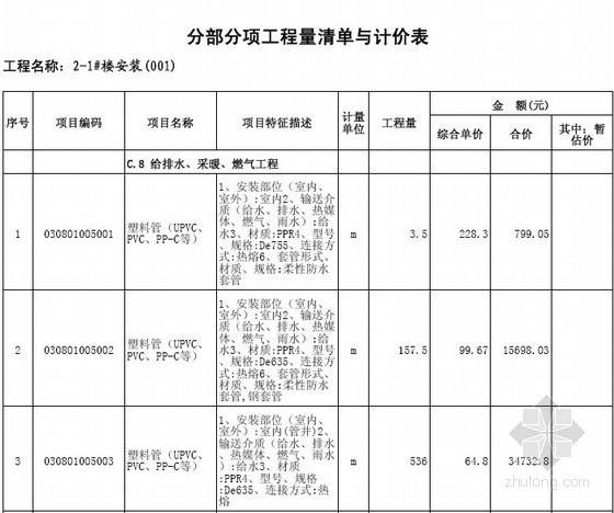 [江苏]2013年住宅楼及地下室土建、安装(含桩基)工程量清单预算(定额工料机综合单价)