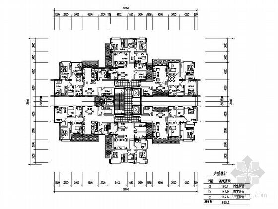 某高层住宅二梯六户型平面图(150、160平方米)