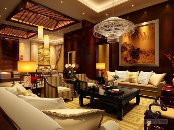 新中式总统套房效果图3D模型
