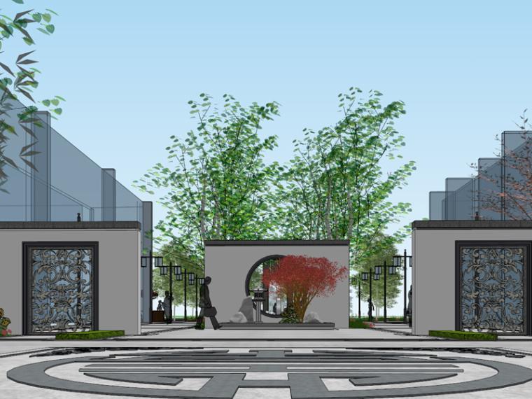 苏宁雅居居住区入口景观su模型(新中式,景墙,地雕)