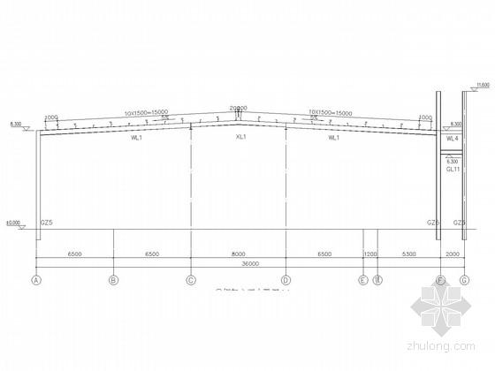 局部二层36米跨门式刚架厂房结构施工图