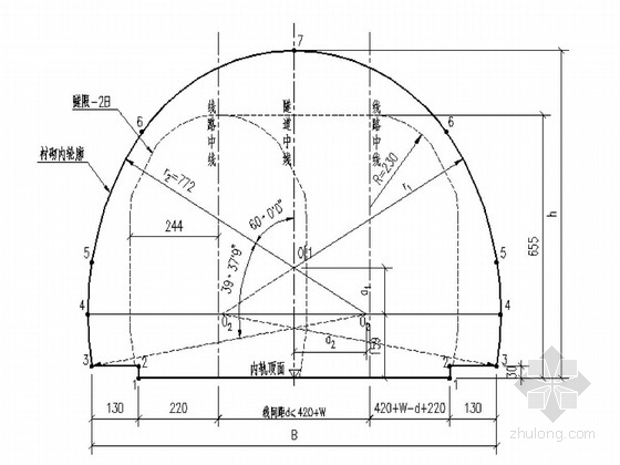 [四川]新建双线电气化铁路隧道复合式衬砌(有砟轨道)施工图71张