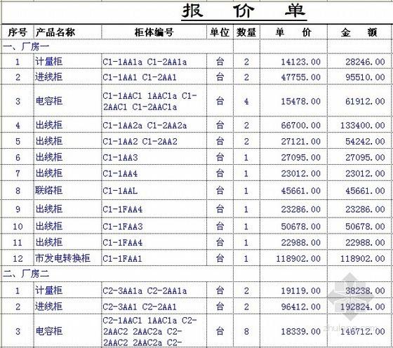 [深圳]高低压成套设备报价书(含报价明细)