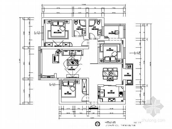 [浙江]豪华现代三居室样板间室内装修施工图(含效果图)