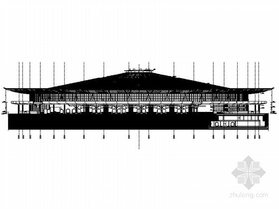 [上海]大型现代风格交通枢纽站设计施工图-大型现代风格交通枢纽站立面图