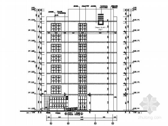 [湖北]八层框架结构涂料外墙办公楼建筑施工图-八层框架结构涂料外墙办公楼建筑立面图