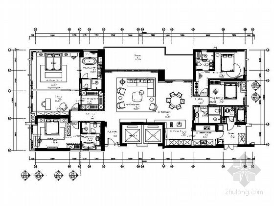 [深圳]纯大户豪宅现代风格四居室室内装修施工图
