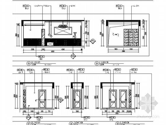 [原创]知名地产商清新别致四居室样板房施工图(含效果图)-[原创]知名地产商设计清新别致四居室样板房施工图立面图
