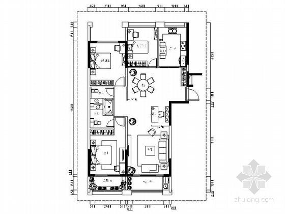 [浙江]现代台式风格三居室样板间CAD装修施工图(含效果)