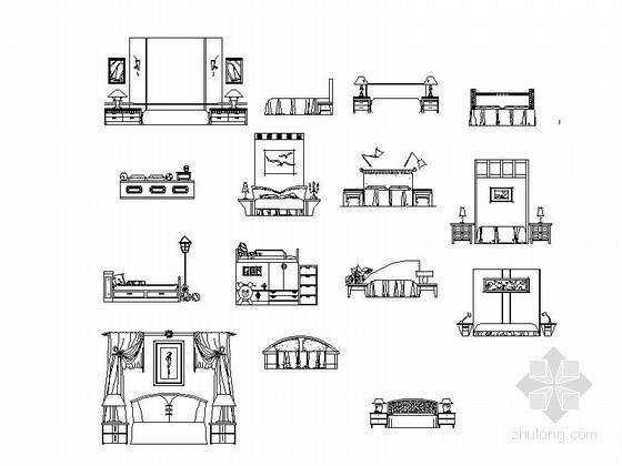 各式风格床立面CAD图块下载