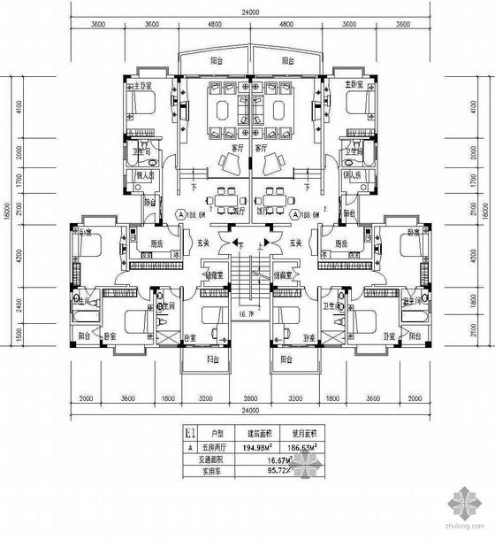 板式多层一梯两户五房两厅户型图(195/195)