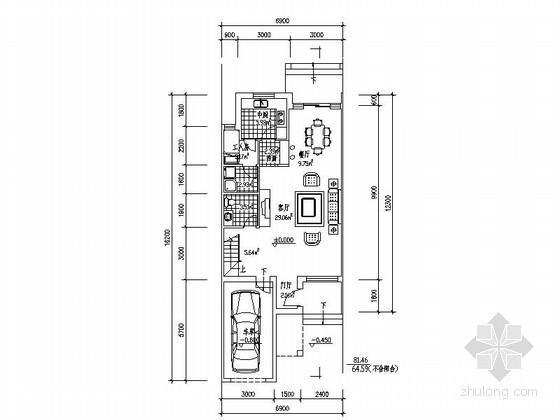 某三层带车库联排别墅平面图(南入口、240平方米)
