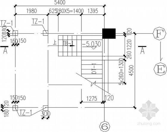 三跑楼梯带折梁节点构造详图