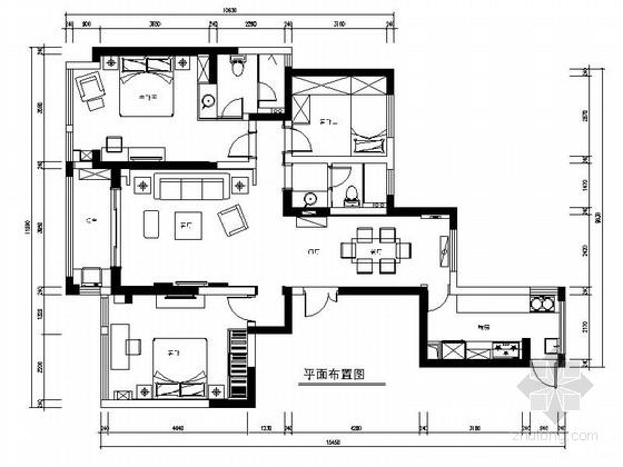 [苏州]现代奢华设计风格三居室室内装修cad施工图(含效果图)