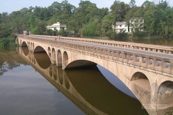 [四川]3孔空腹式混凝土板拱桥加固工程图纸16张(附检测报告)