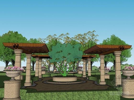 巴洛克小公园SketchUp模型下载