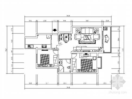 现代简洁风格两居室装修图(含效果图)