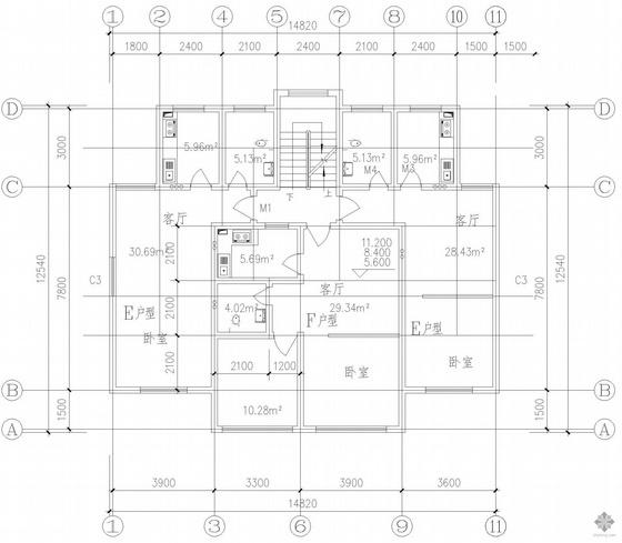 塔式多层一梯三户户型图(51/51/64)