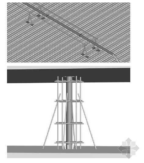 混凝土泵管的铺设和支撑三维立体图