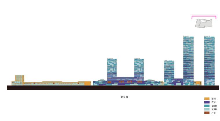方案二材料控制北立面图