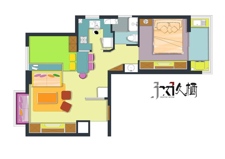 [久栖设计]福州市鹤林新城60㎡恋上小户型_18
