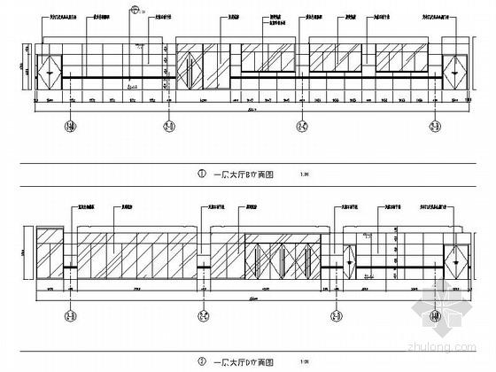 [江苏]省级产品质量检验事业单位现代检验楼装修施工图(含效果)大厅立面图