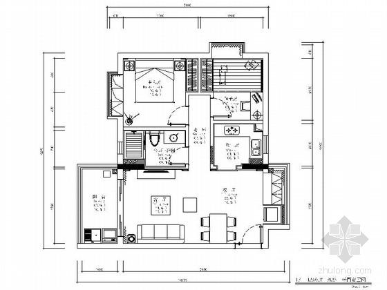 [广州]花园小区欧式风格两居室装修图(含效果图)