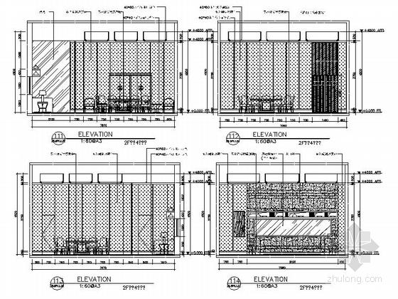 [新疆]1200㎡现代风格会所室内装修施工图(含实景图)包间立面图
