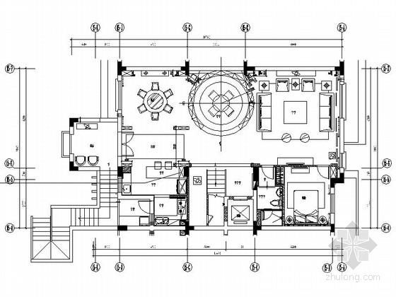 [深圳]现代时尚顶层叠加别墅样板房装修施工图(含实景)