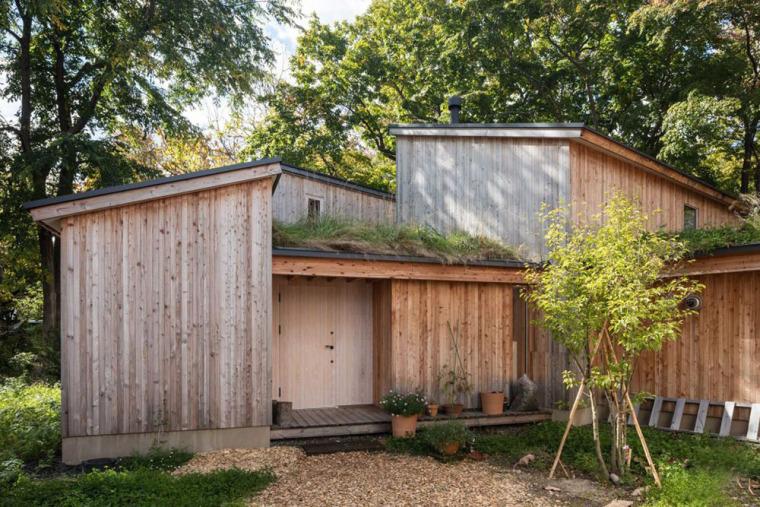 日本多层次空间木结构办公建筑外部实景图 (3)