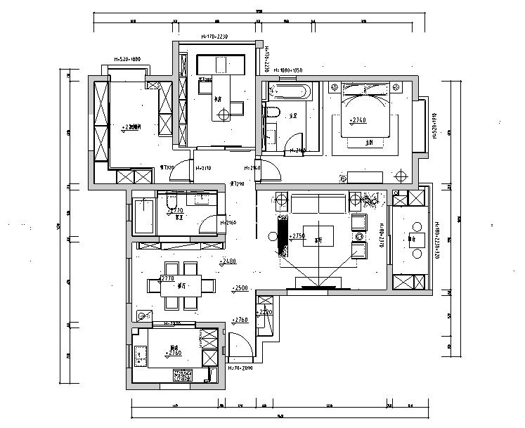 上海滩新昌城住宅设计施工图及效果图