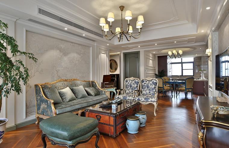 客厅实景-116㎡欧式三居『无处不在的精致生活』第1张图片