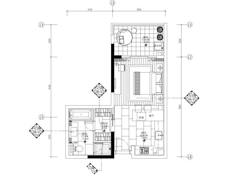 [广东]梁志天-广州雅居乐科学城公寓2号户型一居室样板房全套施工图+效果图+物料