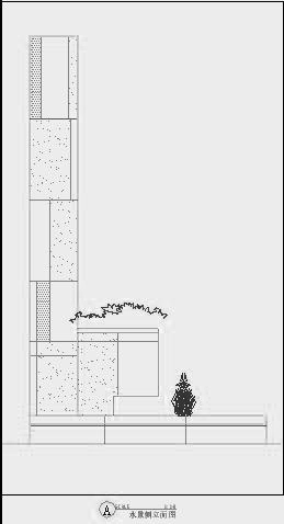 四川成都金色海蓉景观设计施工图-设计详图水景剖立面图