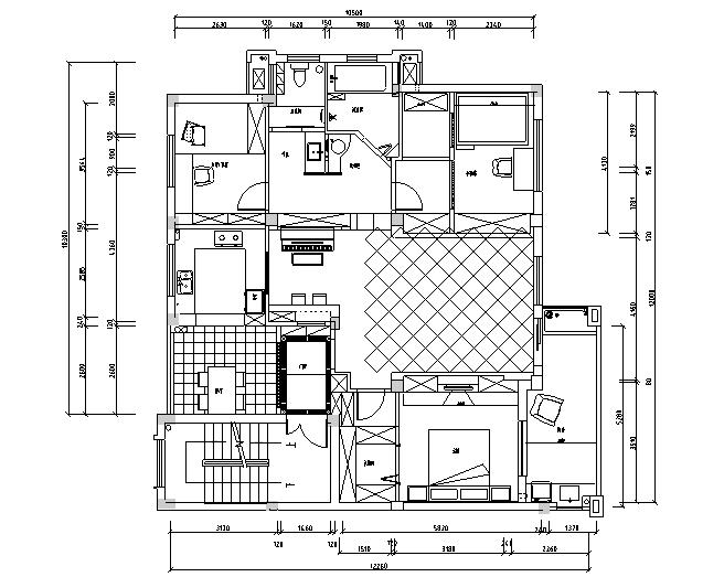 田园风花花世界主题四居室住宅设计施工图(附效果图)