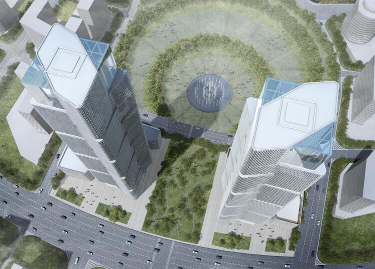 [河南]郑州绿地中央广场现代风高层综合体办公建筑设计方案文本(PDF)