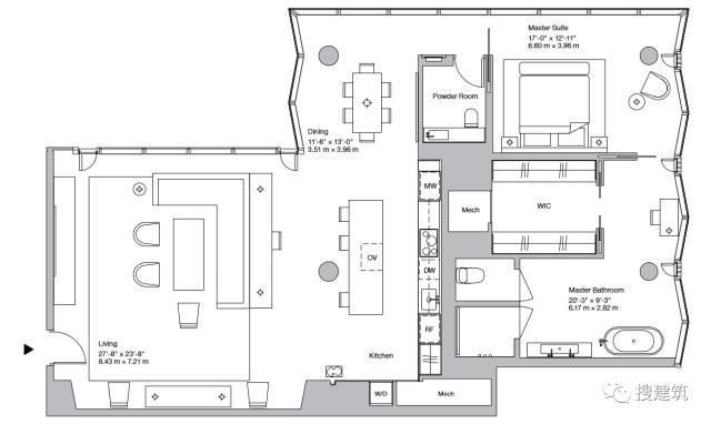 """万科200米高、61层的""""新地标住宅"""",1000-1600平方英尺的户型设_17"""