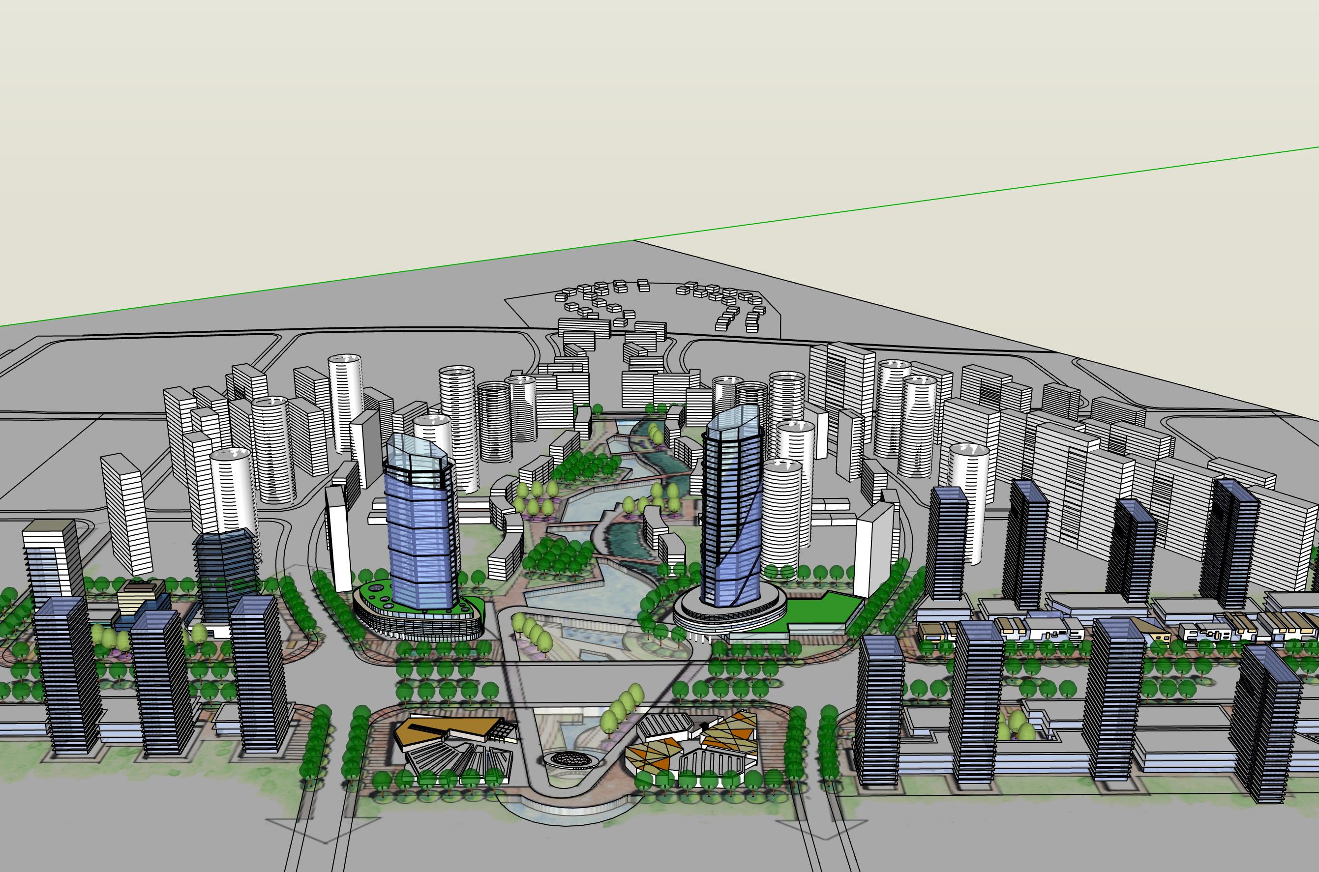 现代商业街城市概念设计建筑su模型图片