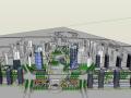 现代商业街城市概念设计建筑SU模型