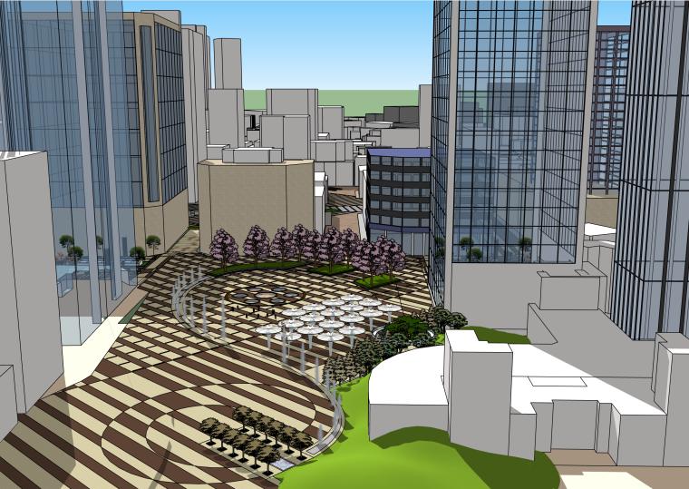 商业街步行街改造建筑SU模型