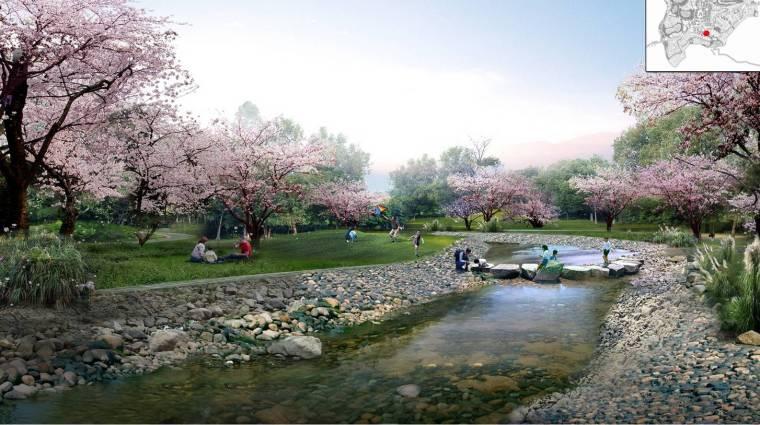 [重庆]丰都旅游休闲度假小镇规划设计(巴渝风情)-旅游休闲度假小镇规划设计——滨水花溪效果图