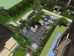 新中式古树花园居住区景观su模型