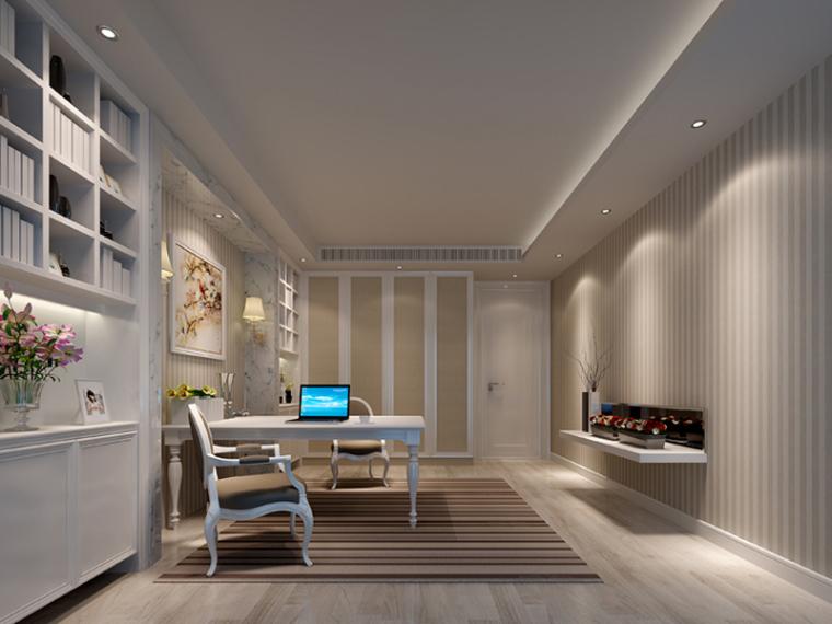 欧式书房3d模型资料下载-欧式舒适书房3D模型下载