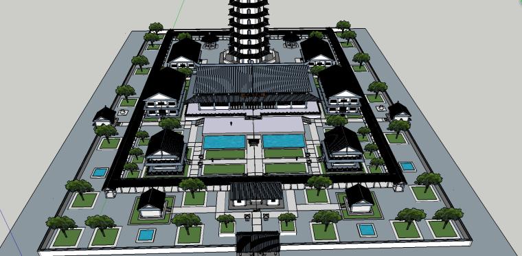 寺庙园林建筑模型(SU模型)