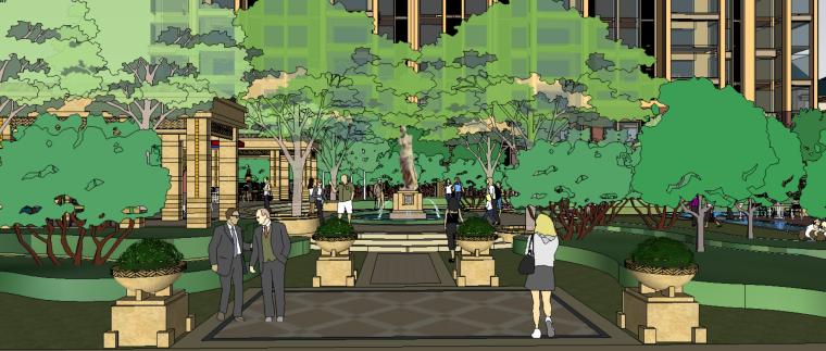 会成及商业广场建筑景观方案设计(SU模型)