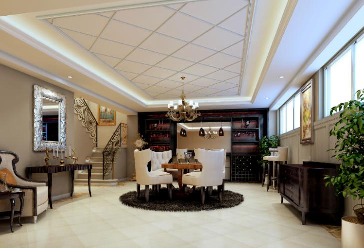 雅安三层豪华别墅室内设计施工图(含效果图)-地下室效果图