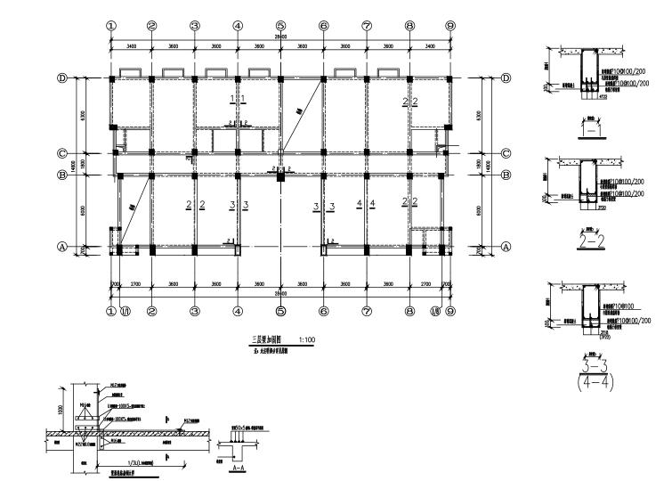 三层框架结构污水处理厂加固施工图