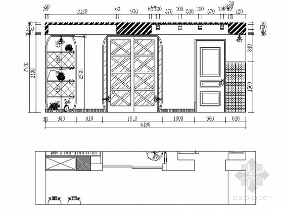 名师设计田园风情复式样板间装修施工图(含效果)餐厅立面图
