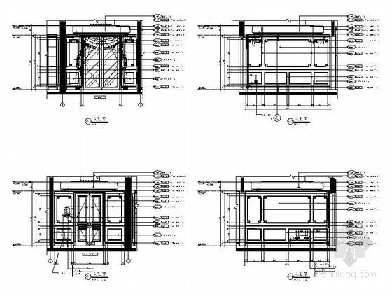 [杭州]欧式顶层大居室样板房设计装修图书房立面图